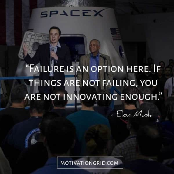 A photo of Elon Musk and partner talking to a crowd in front of a SpaceX shuttle with a quote on it.