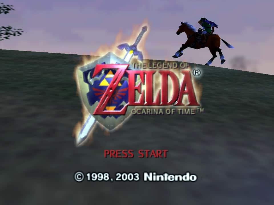 A photo of the splash screen for Ocarina of Time.