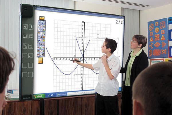 A photo of a student and a teacher using Starboard in a math class.