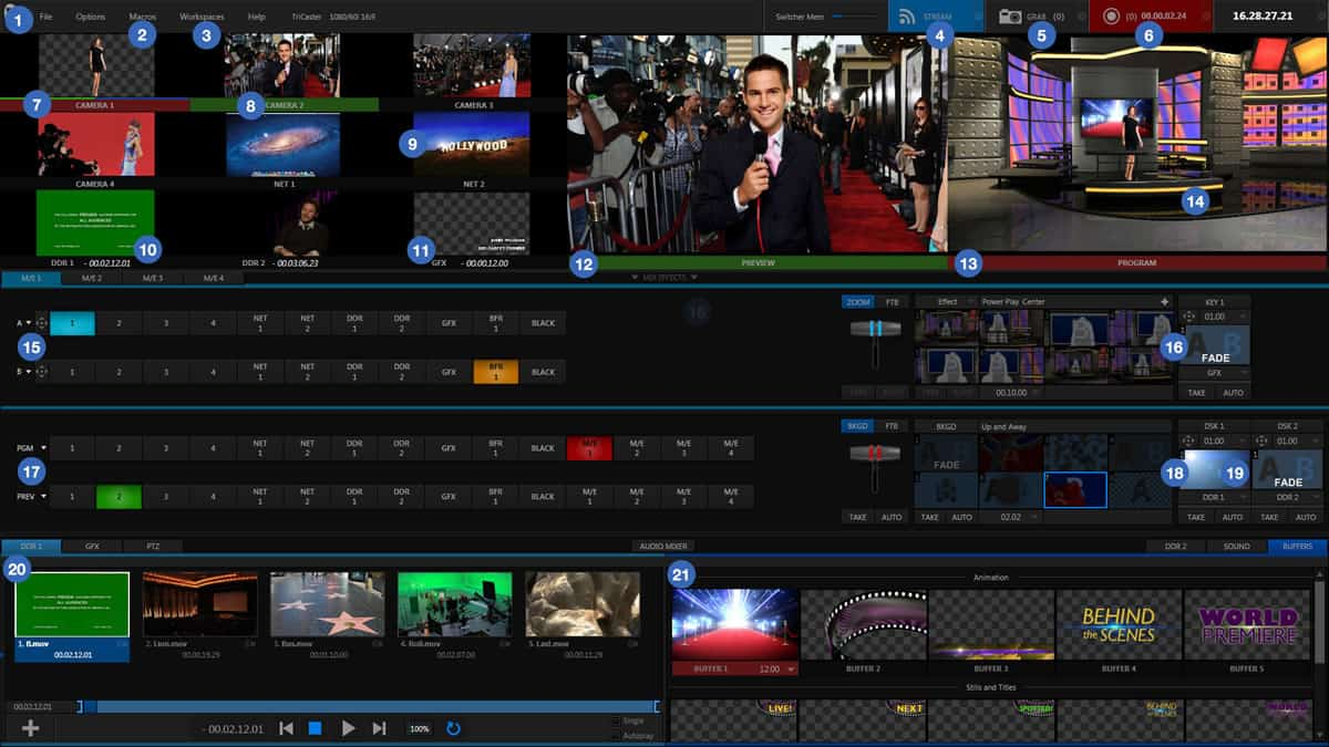 A photo of an example of the Tricaster interface.