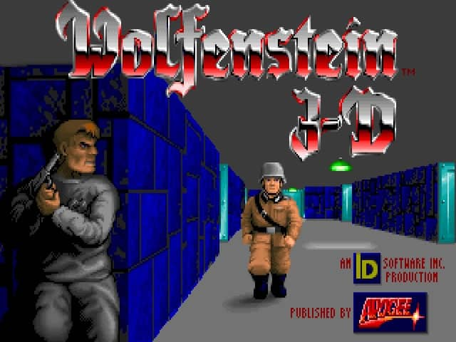 A photo of the Wolfenstein 3D splash screen.