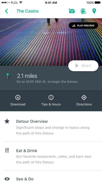 A photo of Detour app, Best Mobile App UI Designs of 2016