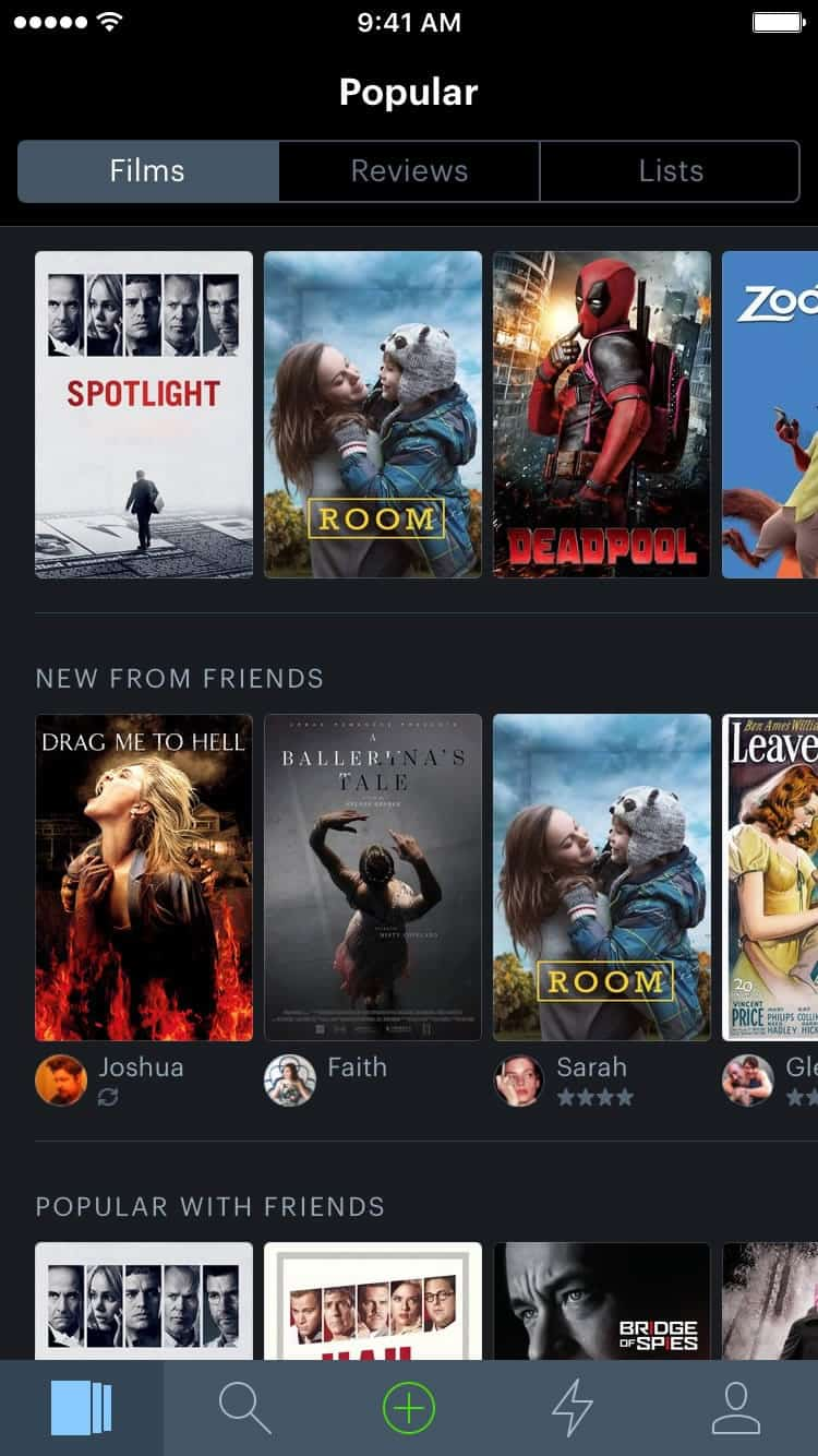 A photo of Letterboxd app, Best Mobile App UI Designs of 2016