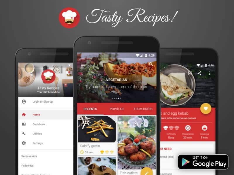 A photo of Tasty Recipes app, Best Mobile App UI Designs of 2016
