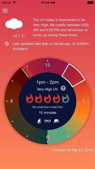 A photo of UVLens app, Best Mobile App UI Designs of 2016