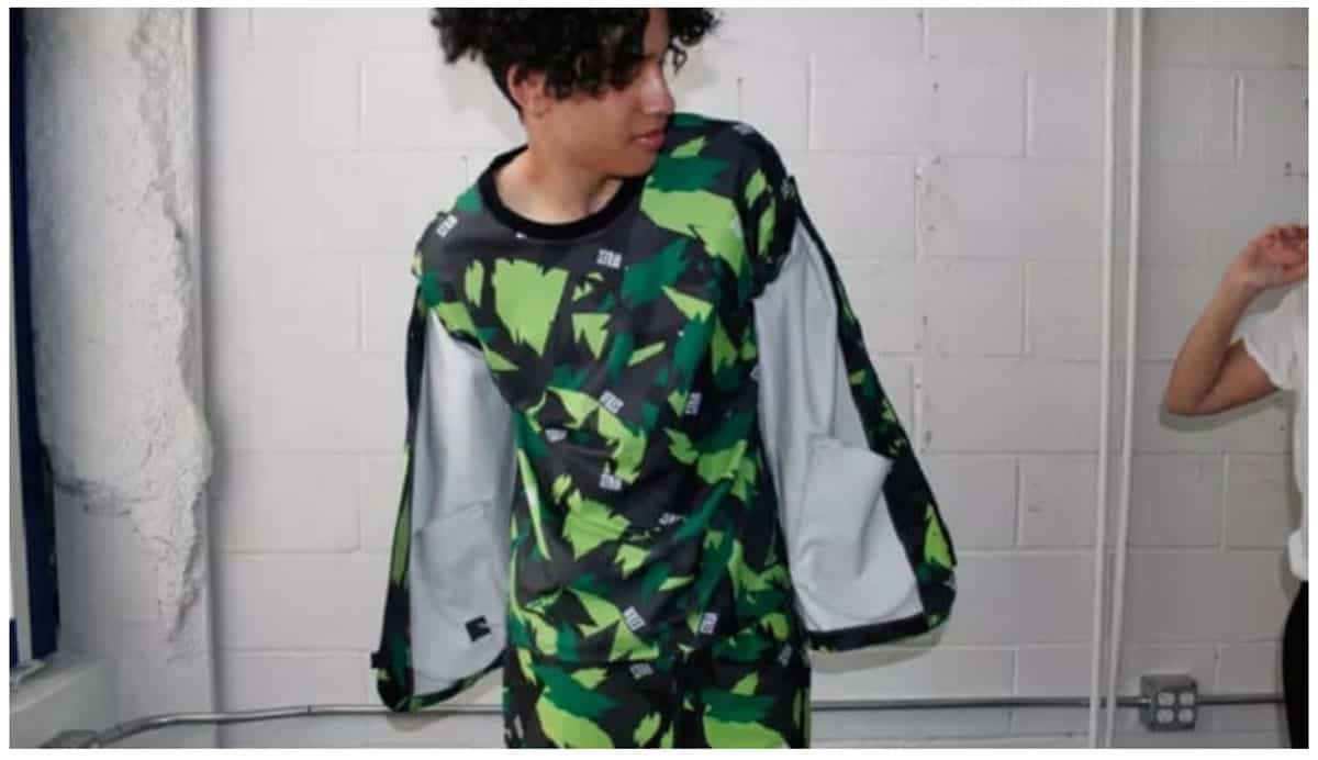 Image of a woman wearing the VFILES Camo Outfit