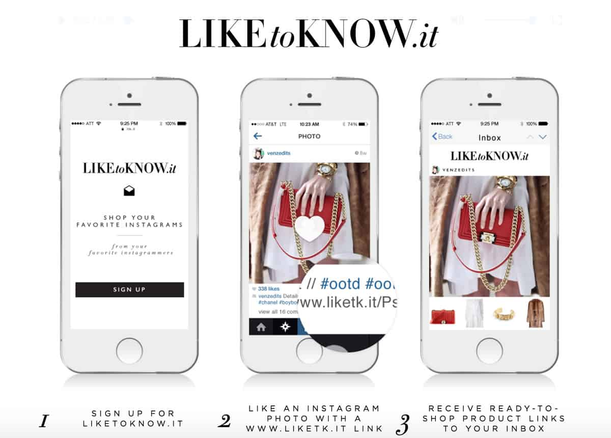 Image of three mobile screens showing three pages of the LikeToKnow.it app.