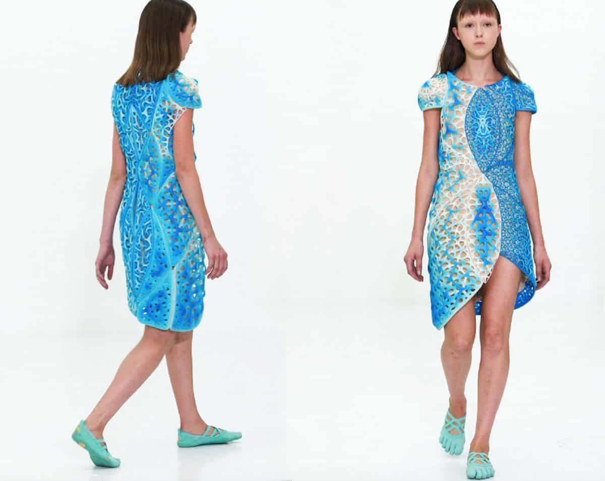 Image of a woman wearing the Oscillation dress.