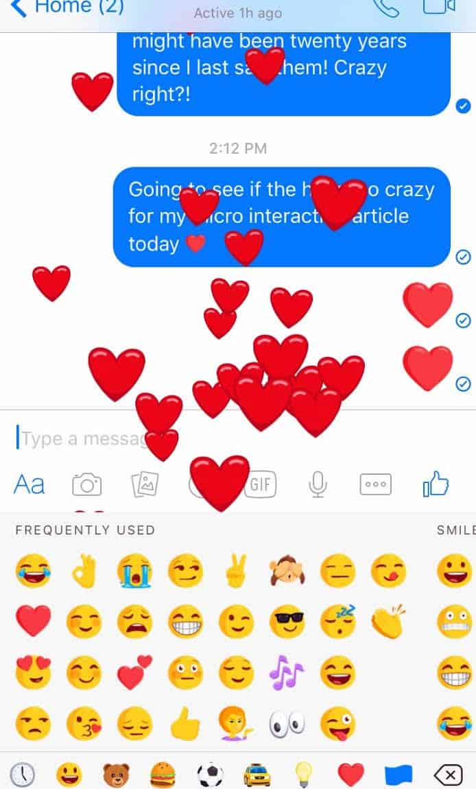 Screenshot of Facebook Messenger app microinteraction of an explosion of red hearts.