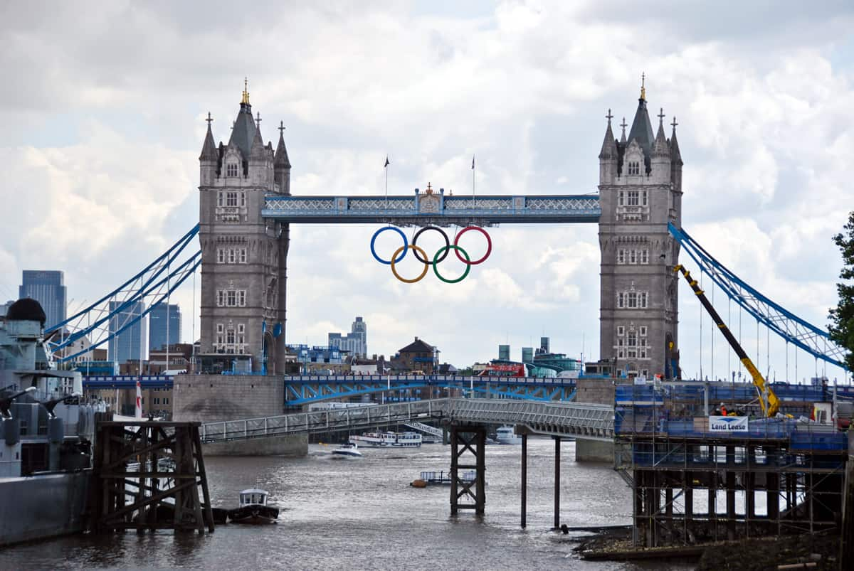 A photo of the Tower Bridge in London during the 2012 Summer Olympic Games.