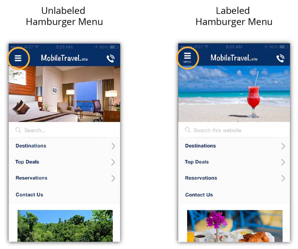 A photo of two hamburger menu variations.