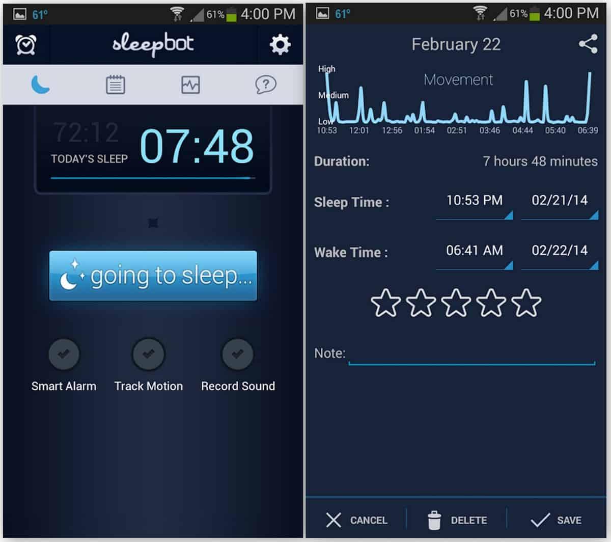 A photo of Sleepbot, one of many useful apps.