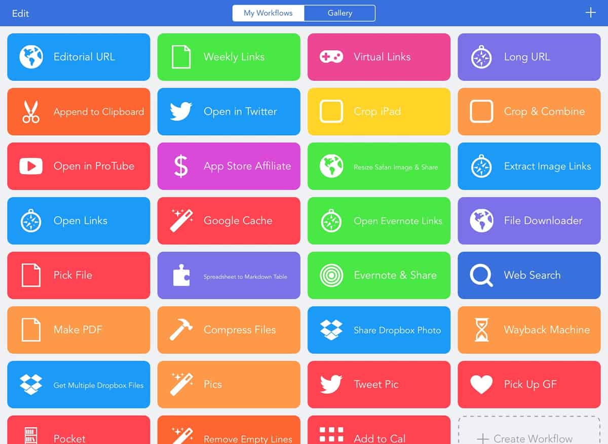 A photo of Workflow, one of many useful apps.
