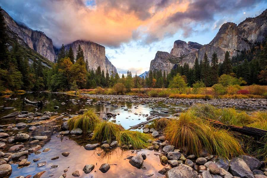 A sunrise photo of a valley in Yosemite National Park, demonstrating that color and texture can transform a visual design.