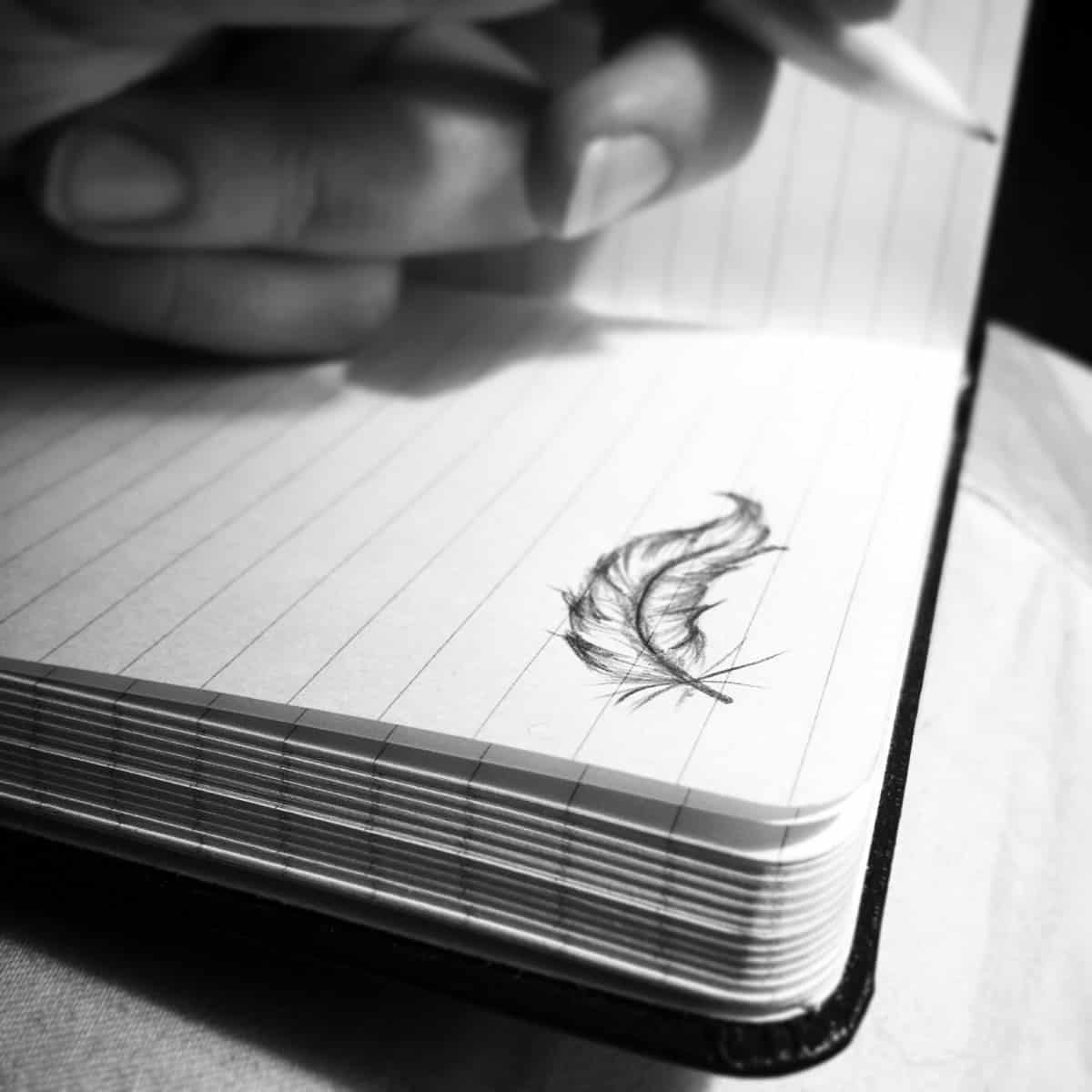 A photo of a feather doodled on the top right-hand corner of a notebook.