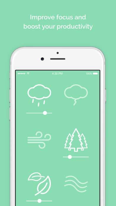 A photo of Noisli app, Top 10 Mobile App UI of December 2016