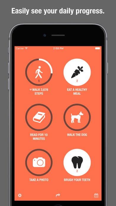A photo of Streaks app, Top 10 Mobile App UI of December 2016