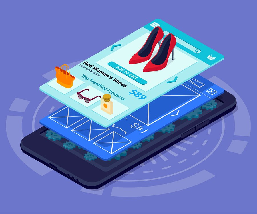A 3D rendering of an app showing a prototype of a red women's shoe retail page on top of a wireframe.