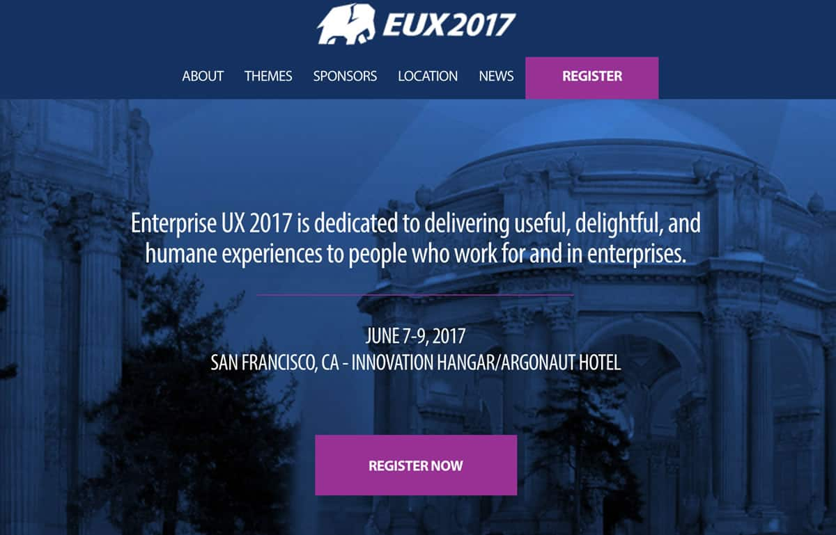 Image of the homepage for the Enterprise UX 2017 Conference.