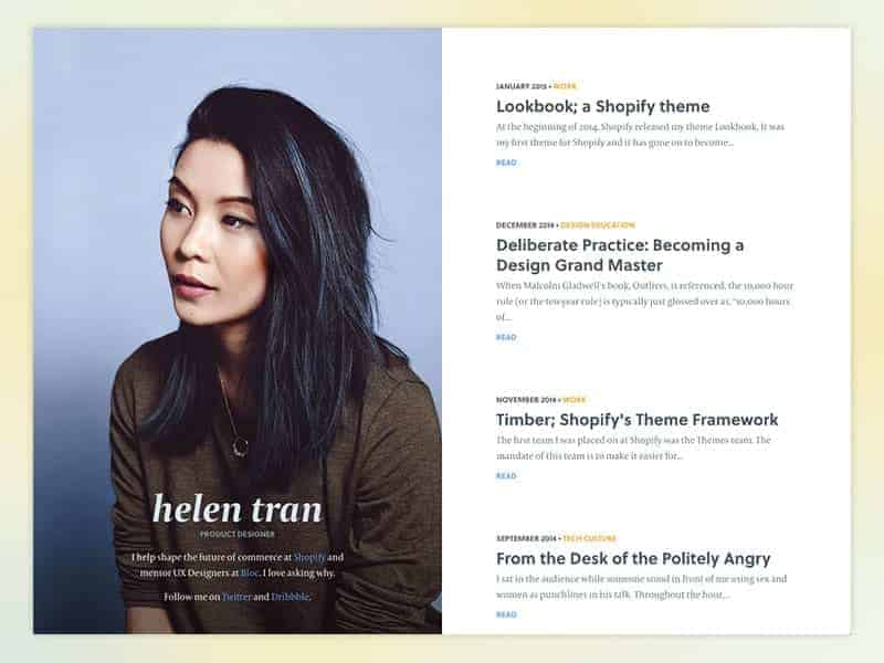 An image of Helen Tran's website, an influential female designer.