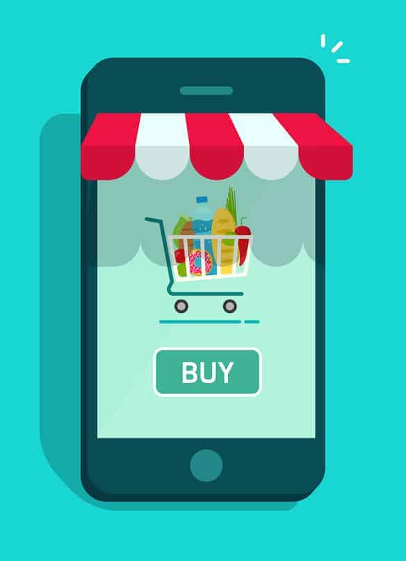 An image rendering of a shopping app, complete with a 3D red and white awning.