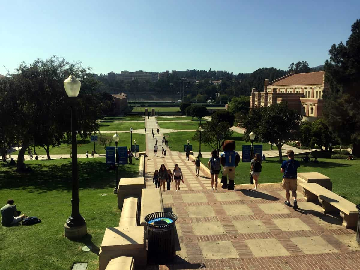 A photo of a large college campus on a gorgeous sunny day.