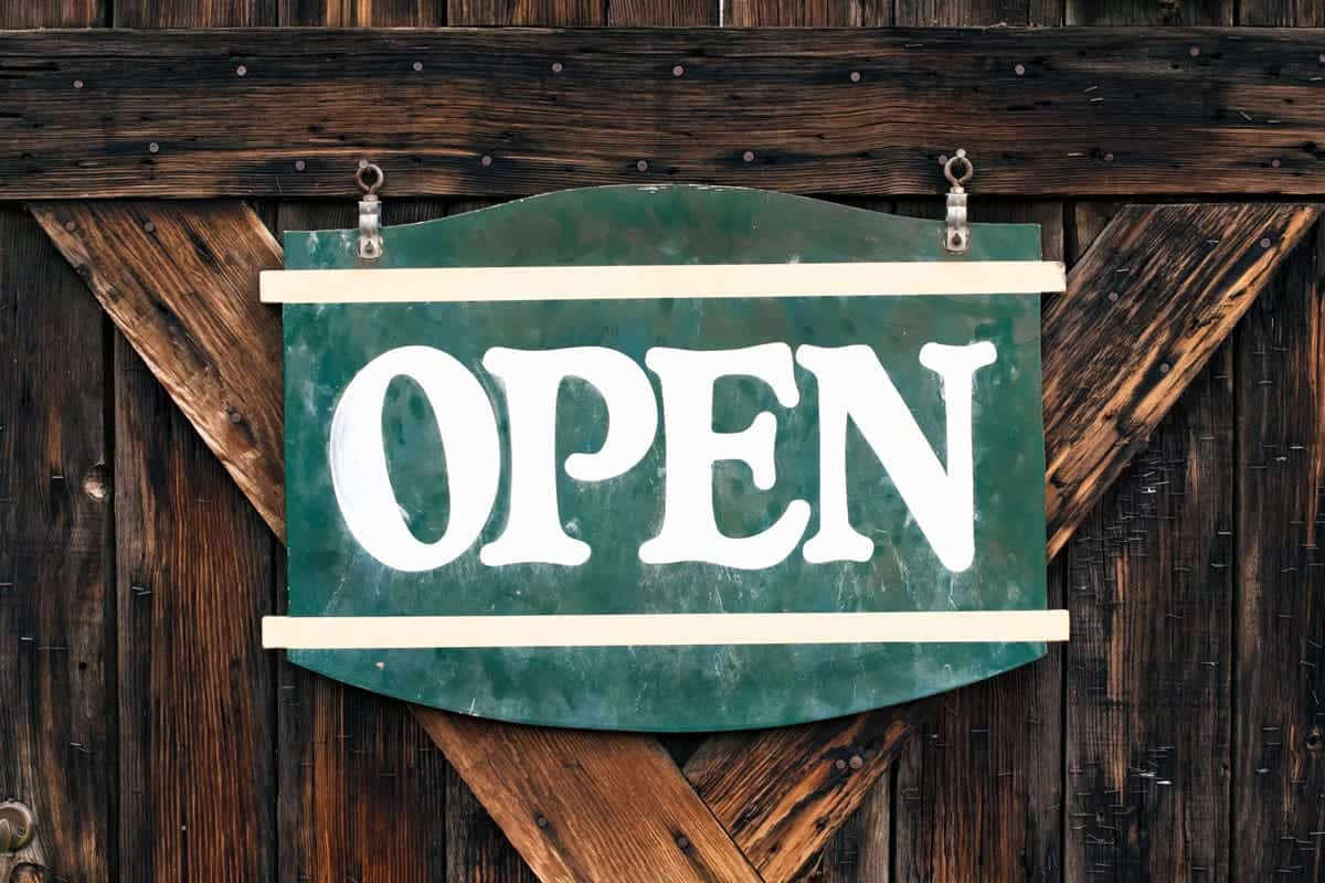 Image of an open sign on a door