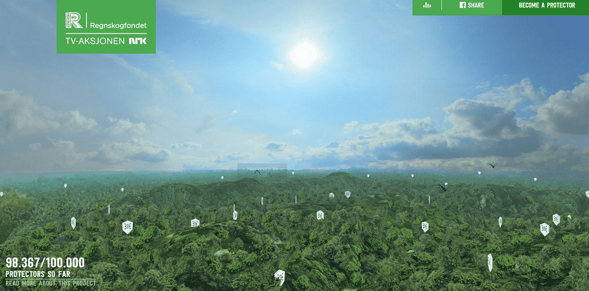 Image of the home page of 360-degree Video for the Regnskogfondet Save the Rainforest Campaign