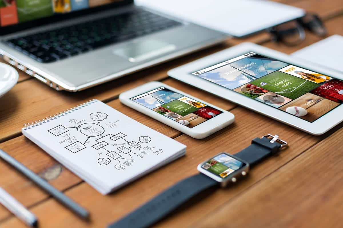 App design on multiple devices.