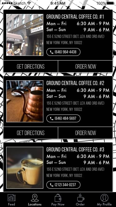 An image of the prototype Messapps made for Ground Central, showing their cafe locations.