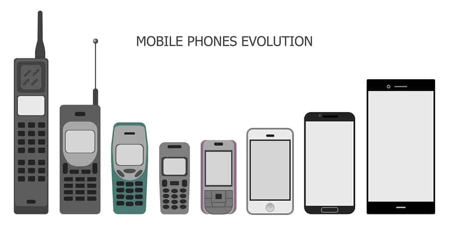 An image demonstrating the evolution of mobile phones, from the first release to the most recent Android device.