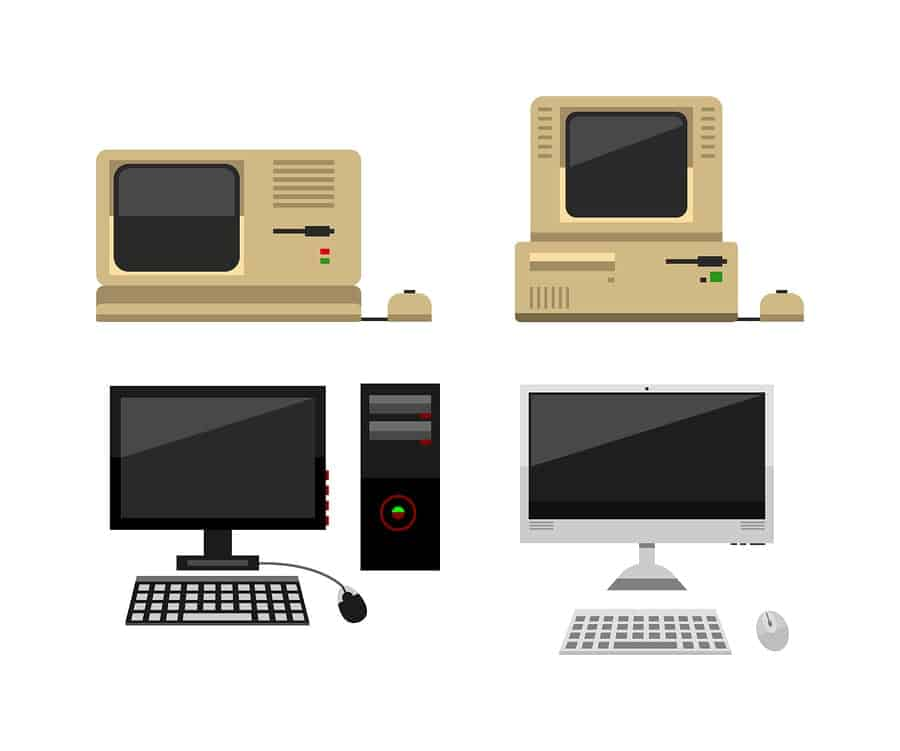 An image demonstrating the evolution of personal desktop computers.