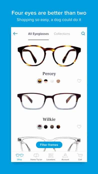 A photo of Warby Parker, Top 10 Mobile App UI of November 2017