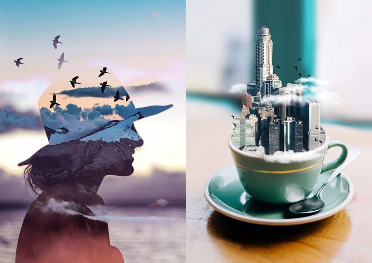 Side-by-side images of two examples of images edited in Photofox, one with a sun setting over water blended into a person wearing a cowboy hat and the other featuring a city skyline coming out of a teacup.