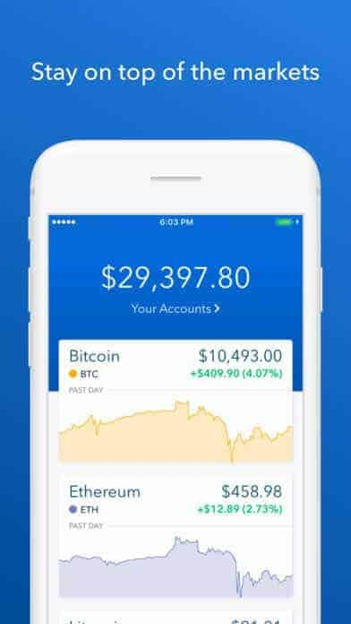 A photo of Coinbase, Top 10 Mobile App UI of December 2017