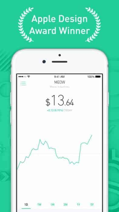 A photo of Robinhood, Top 10 Mobile App UI of December 2017