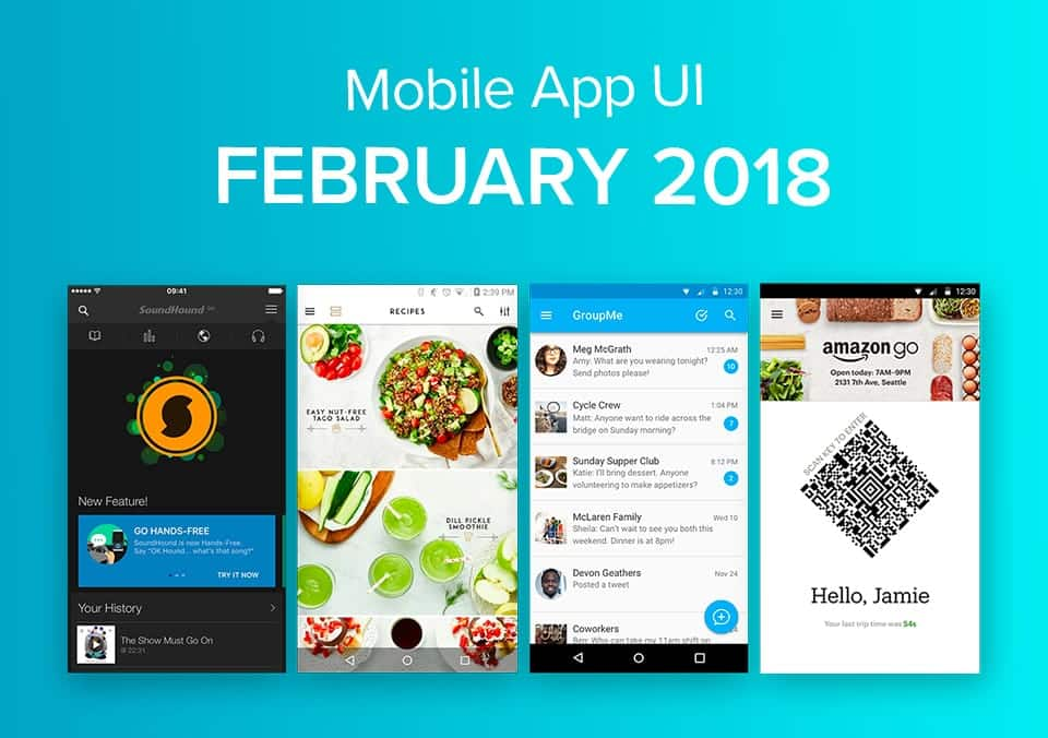 Top 10 Mobile App UI Designs of February 2018