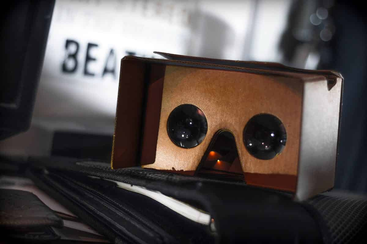 A photo of a Google Cardboard device ready for use.