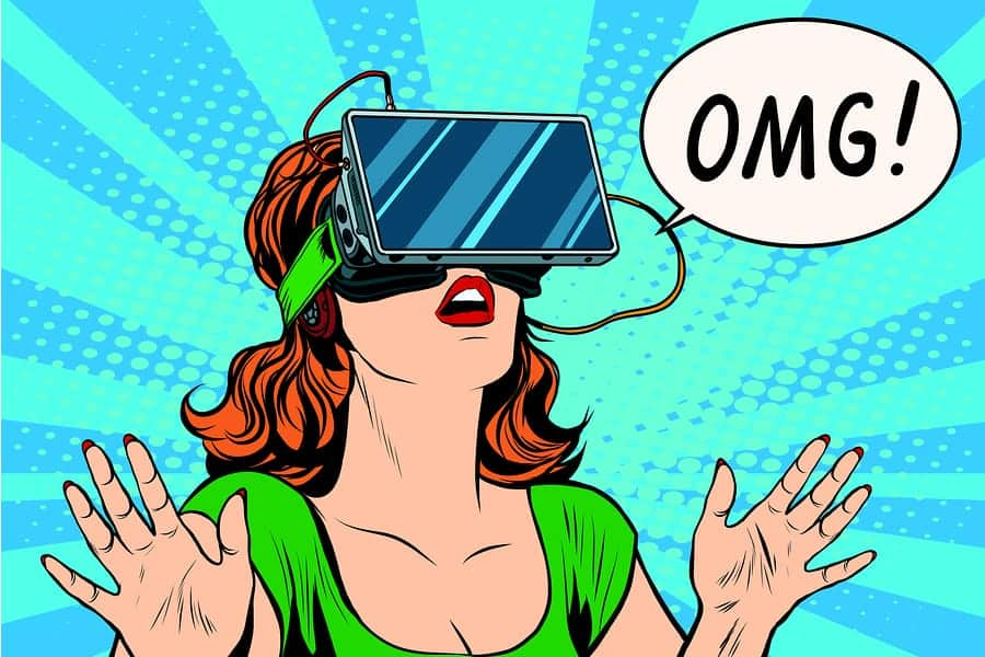 A pop art style photo of a woman trying on a virtual reality headset for the first time.