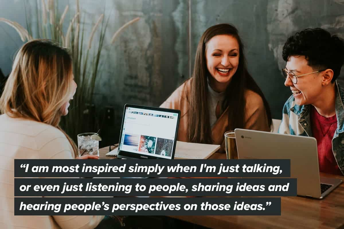 A quote about designers finding inspiration by talking out ideas.
