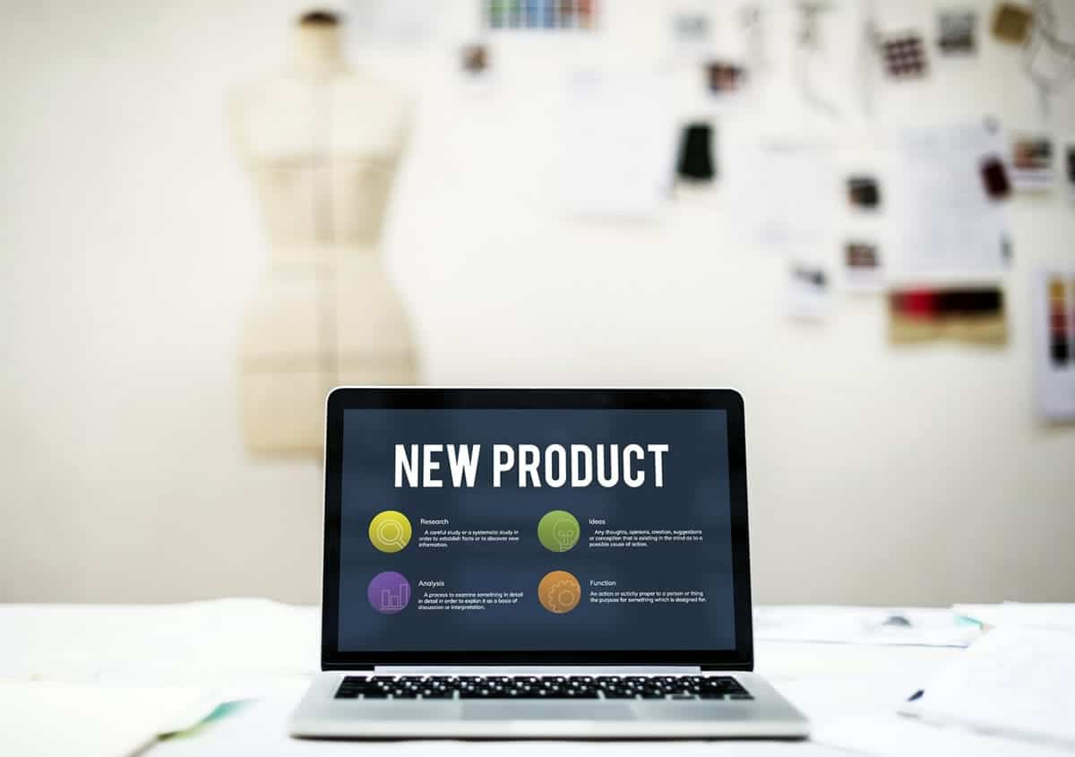 New product slide displayed on a laptop