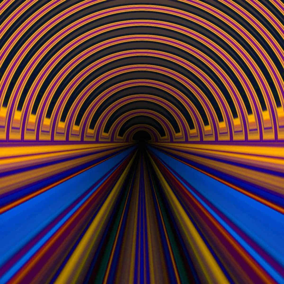 An image of a piece of art in which bright colors depict the shape of a tunnel.