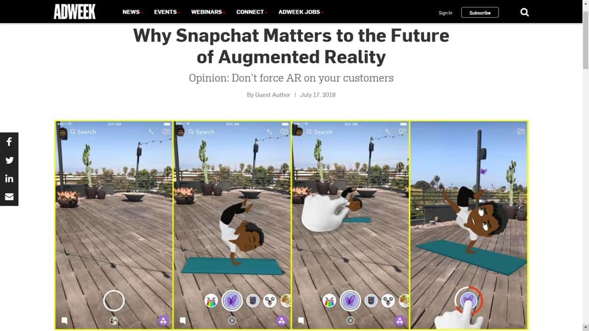 A screenshot of AdWeek, featuring an opinion piece on Snapchat and augmented reality.