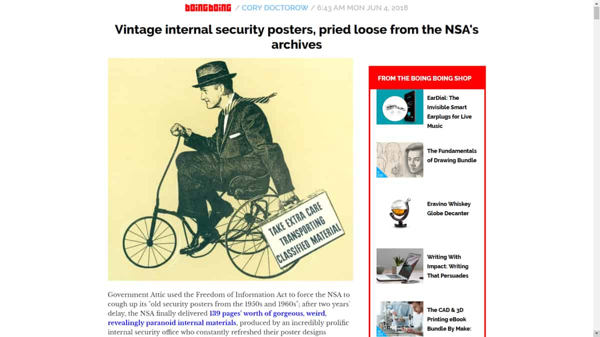 A screenshot of an article on Boing Boing featuring vintage internal security posters from the NSA.
