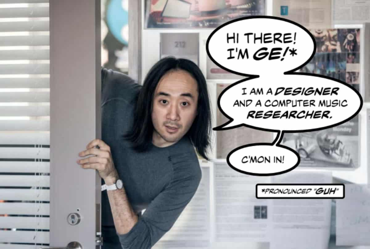 A photo of author and designer Ge Wang peeking out from behind a door with graphic novel-style speech bubbles in which he introduces himself.
