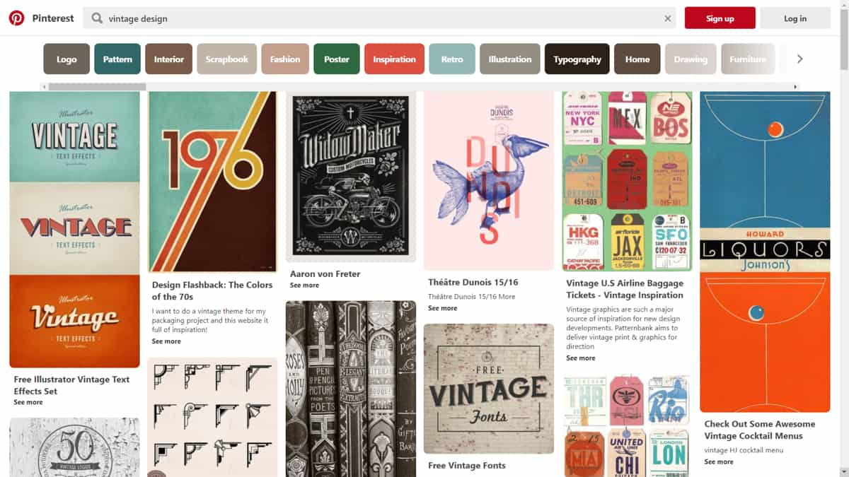 "A screenshot of Pinterest showing search results for the term ""vintage design."""