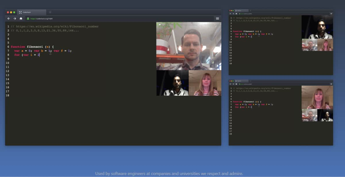 A screenshot of a Codeshare editing window that three different developers are editing simultaneously.