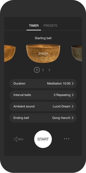 A mockup of the Insight meditation timer on a smartphone, ready to begin a 10-minute meditation session.