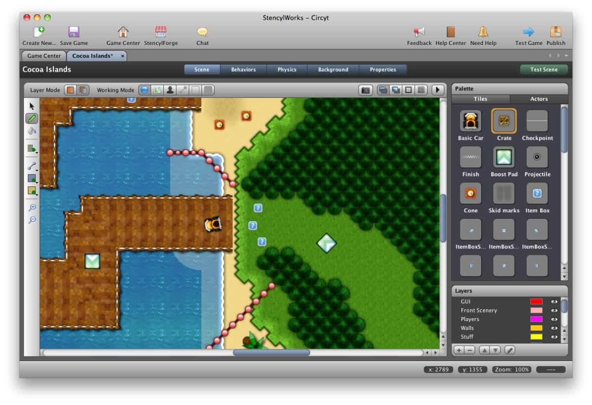 A screenshot of Stencyl's screen designer tool.