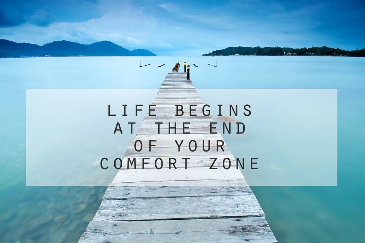 "An image rendering featuring a quote that says ""Life begins at the end of your comfort zone."""